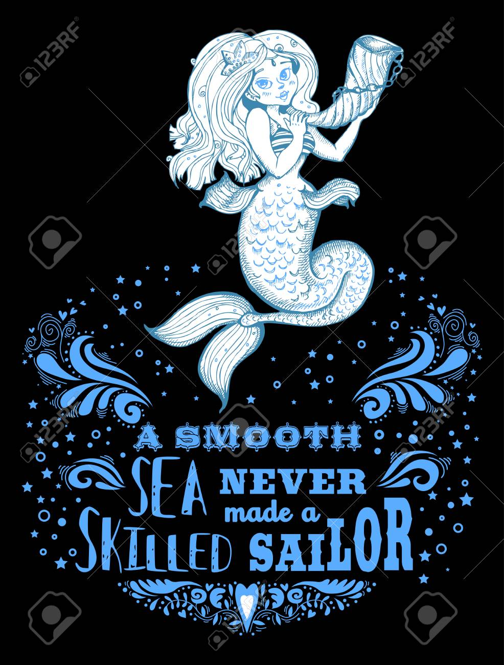 Hand Drawn Poster With Mermaid And And Text Fantasy Mythology