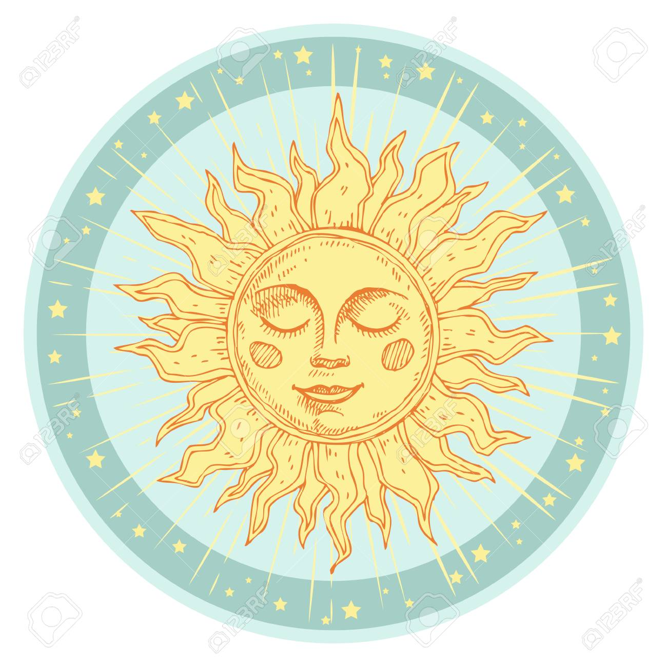 Hand drawn sun with face and starburst stylized as engraving. Can be used as print for T-shirts and bags, cards, decor element. Vector astrology symbol - 93203117