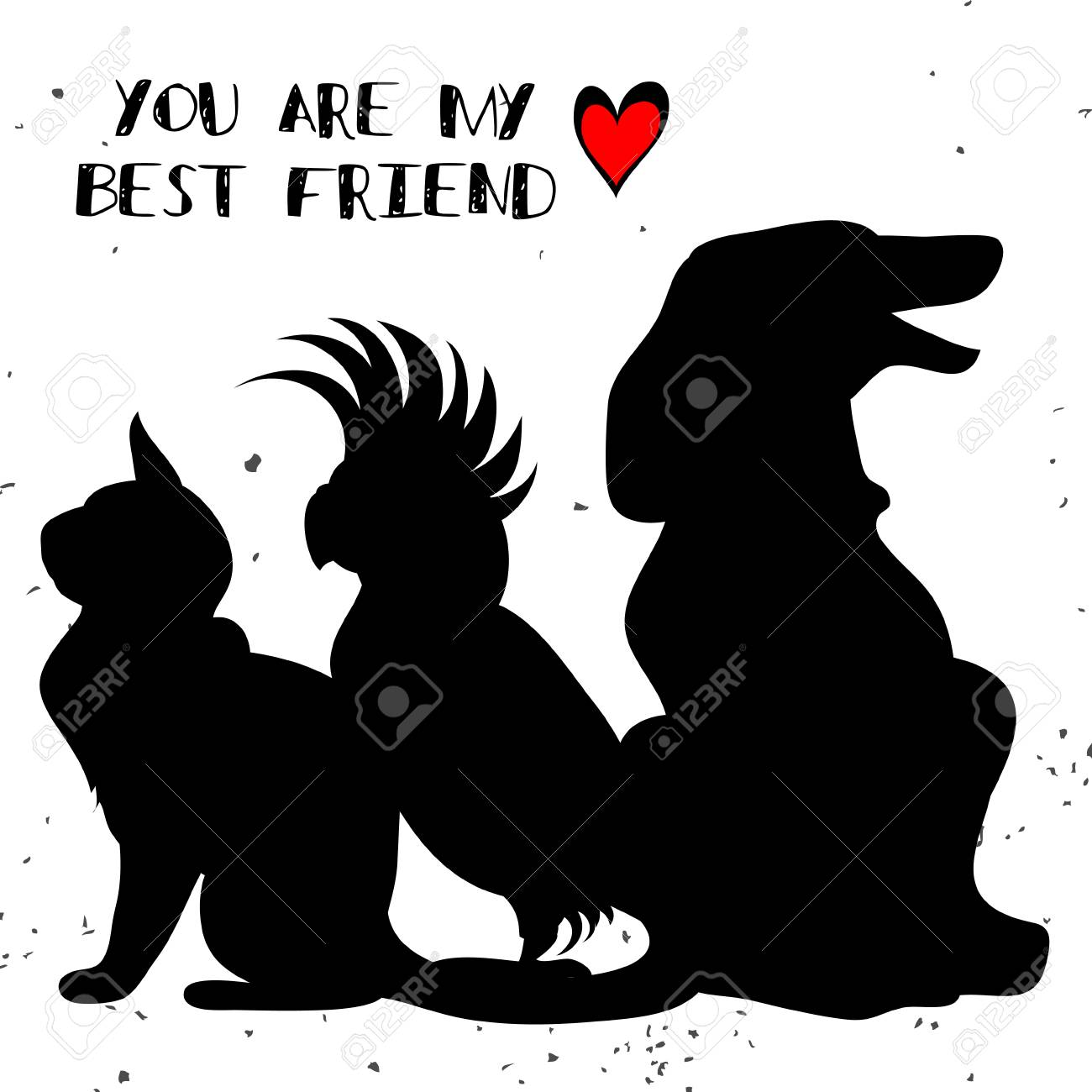 Typographic Poster With Cat, Parrot And Dog Silhouette.You Are ...