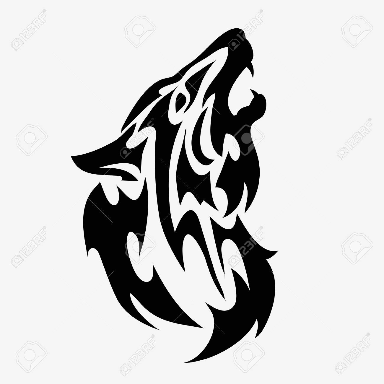 Tribal Wolf Head Tattoo Abstract Black And White Vector Illustration