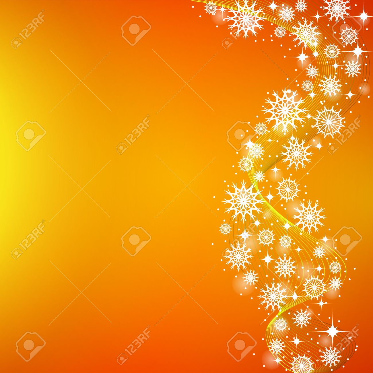 The Orange Yellow Background Of Falling Snowflakes And Stars Royalty