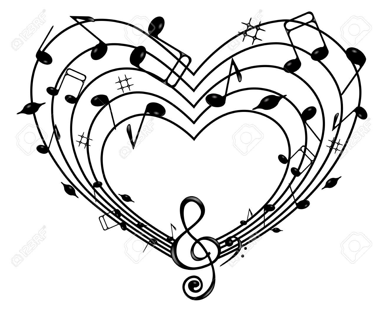 En El Fondo Blanco De Notas Negras Y El Corazón Clave De Sol
