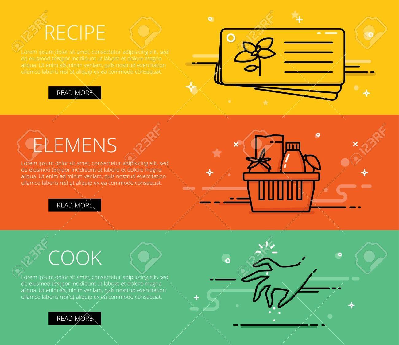 Lineales banderas cocina de web. recetas de línea, ingredientes, cocinar y  salazón de la mano. Diseño gráfico conjunto de banderas Ilustración de ...