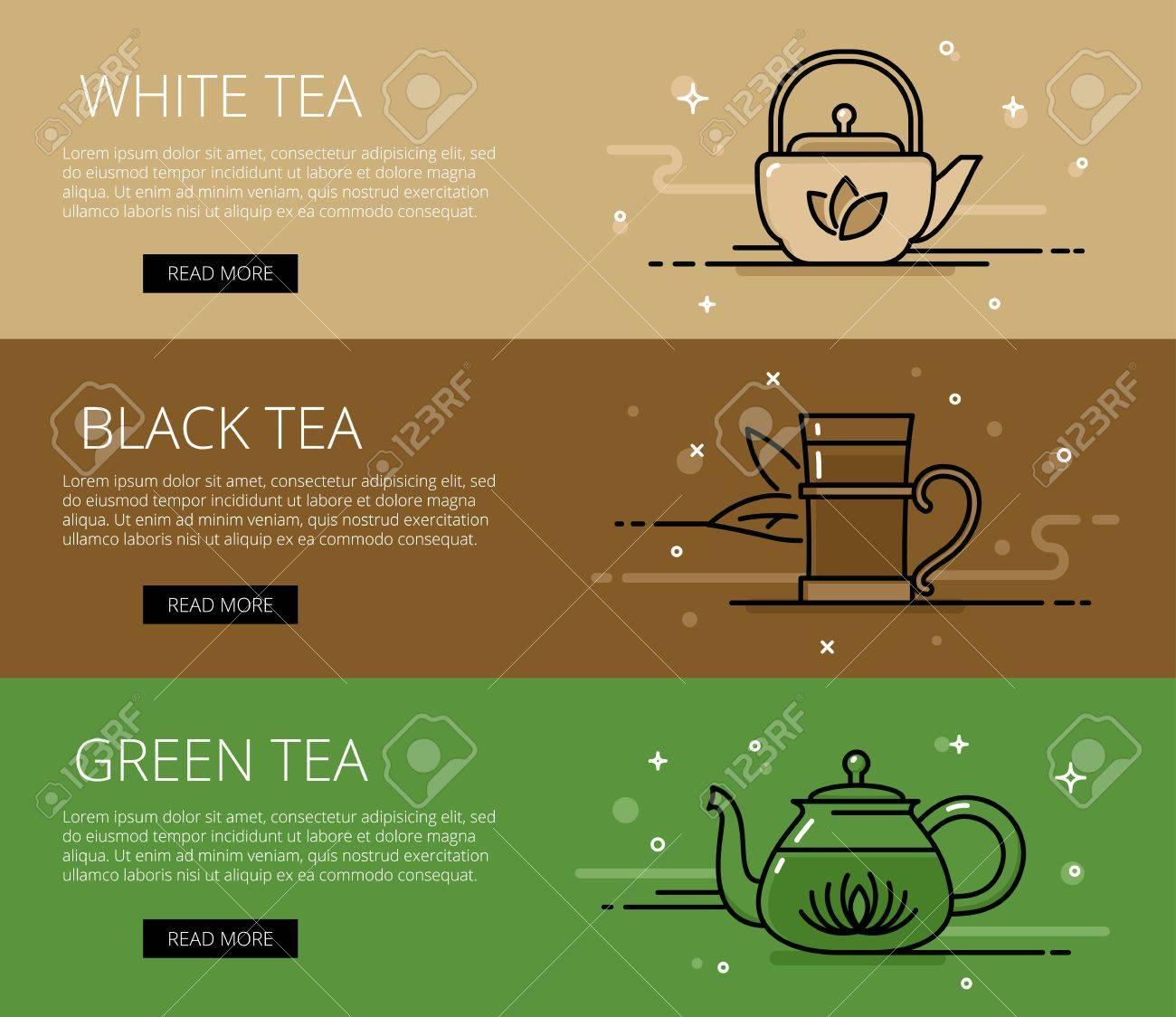 Tea Types Web Banners Set Line White Tea Black Tea Green Tea