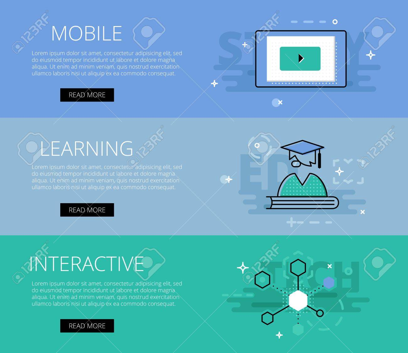 Flat Design Electronic Education Banners Template Set. Education ...