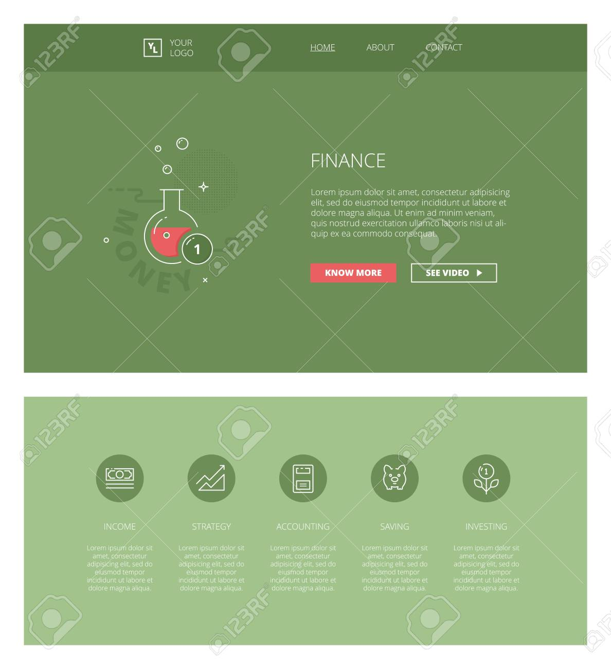 Minimal Design Web Template With Header And Five Icons For Financial ...