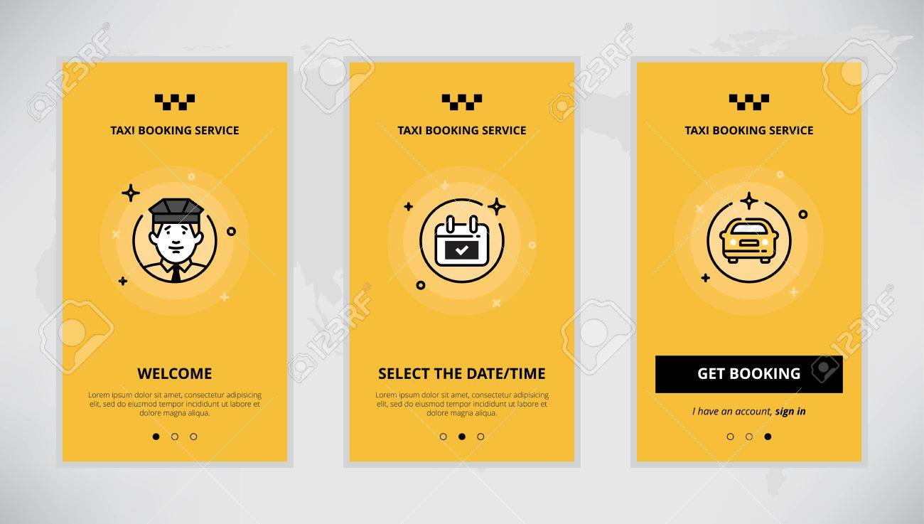 Modern Vector Flat Line Mobile App Design Set Of Taxi Booking Onboarding Screens For Online