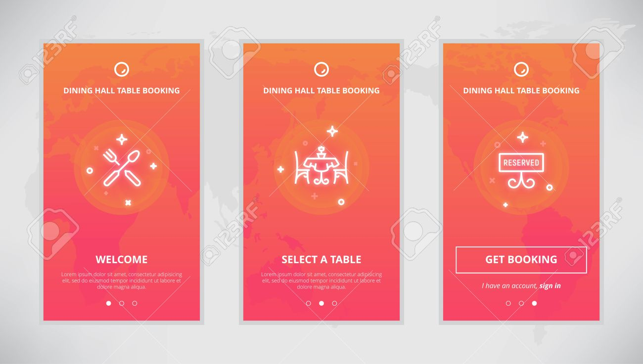 Onboarding Design Concept For Dining Hall Table Booking Service - Table booking app