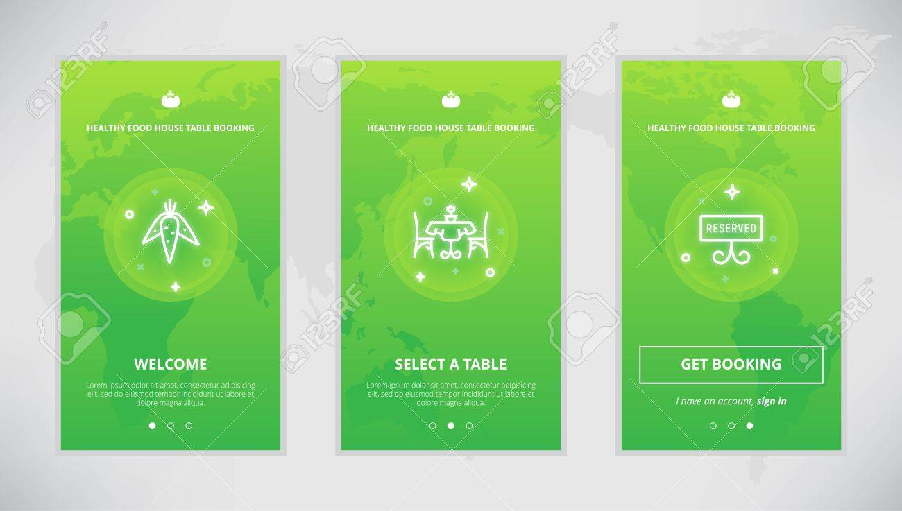 Onboarding Design Concept For Healthy Food Table Booking Service - Table booking app