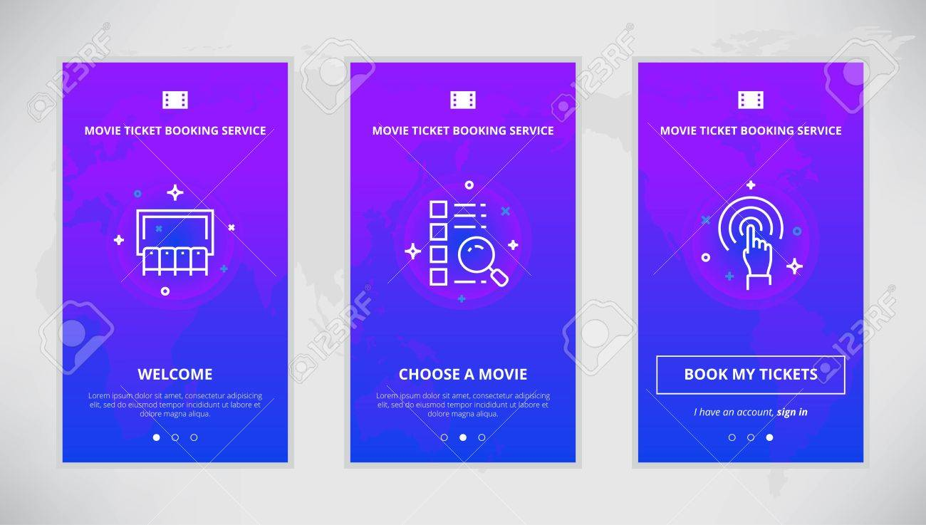 onboarding design concept for movie ticket booking service modern