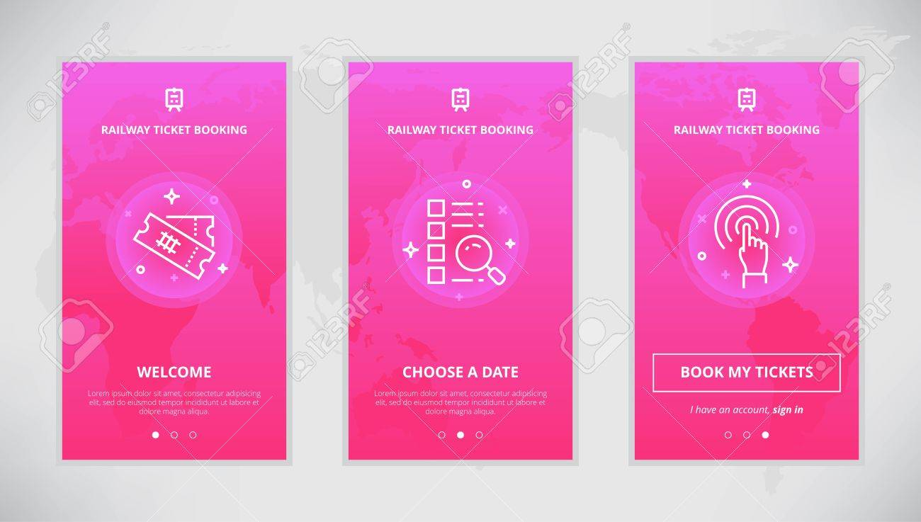 onboarding design concept for railway ticket booking service