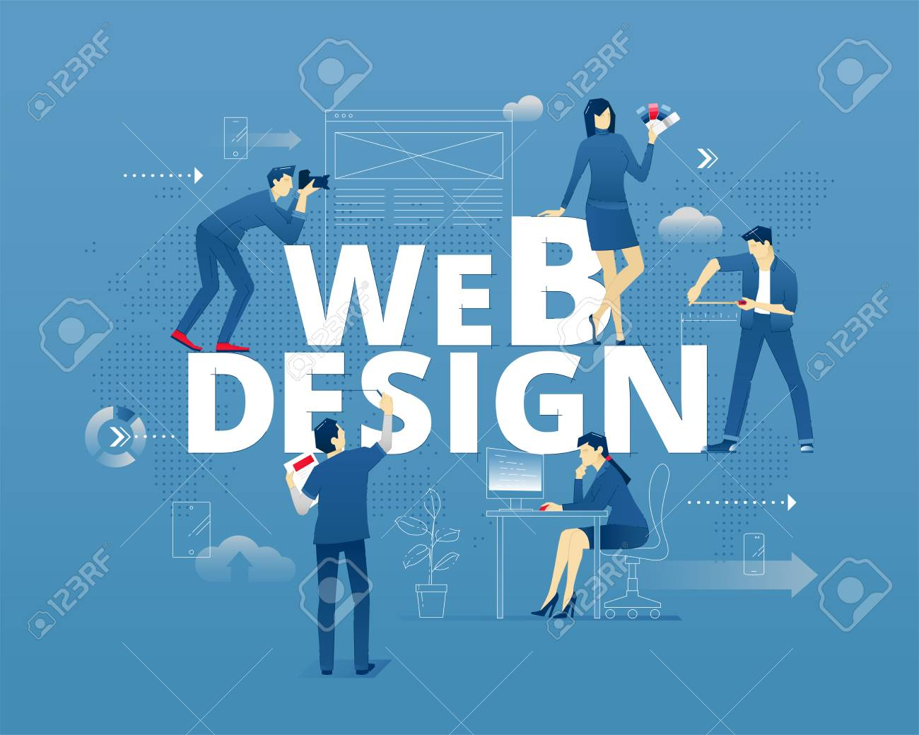 Visual metaphor of web design and web designers  Yuong creative