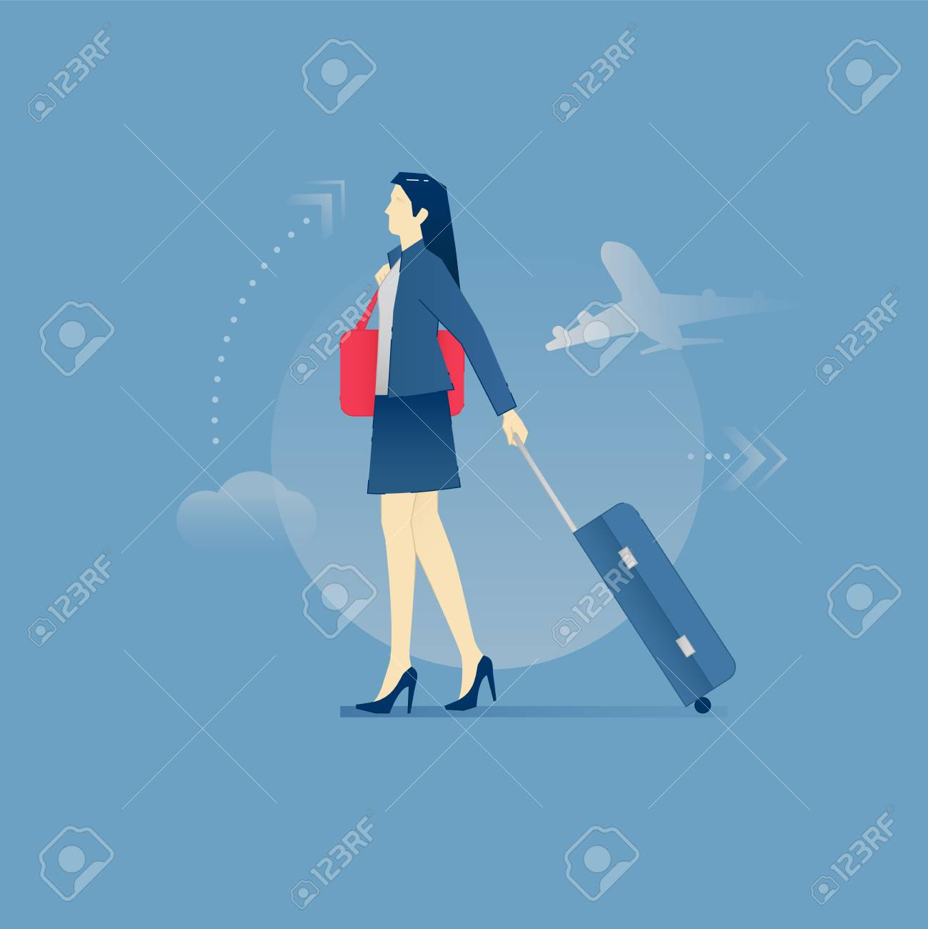 Young Business Woman Carrying Her Suitcase On Wheels In A