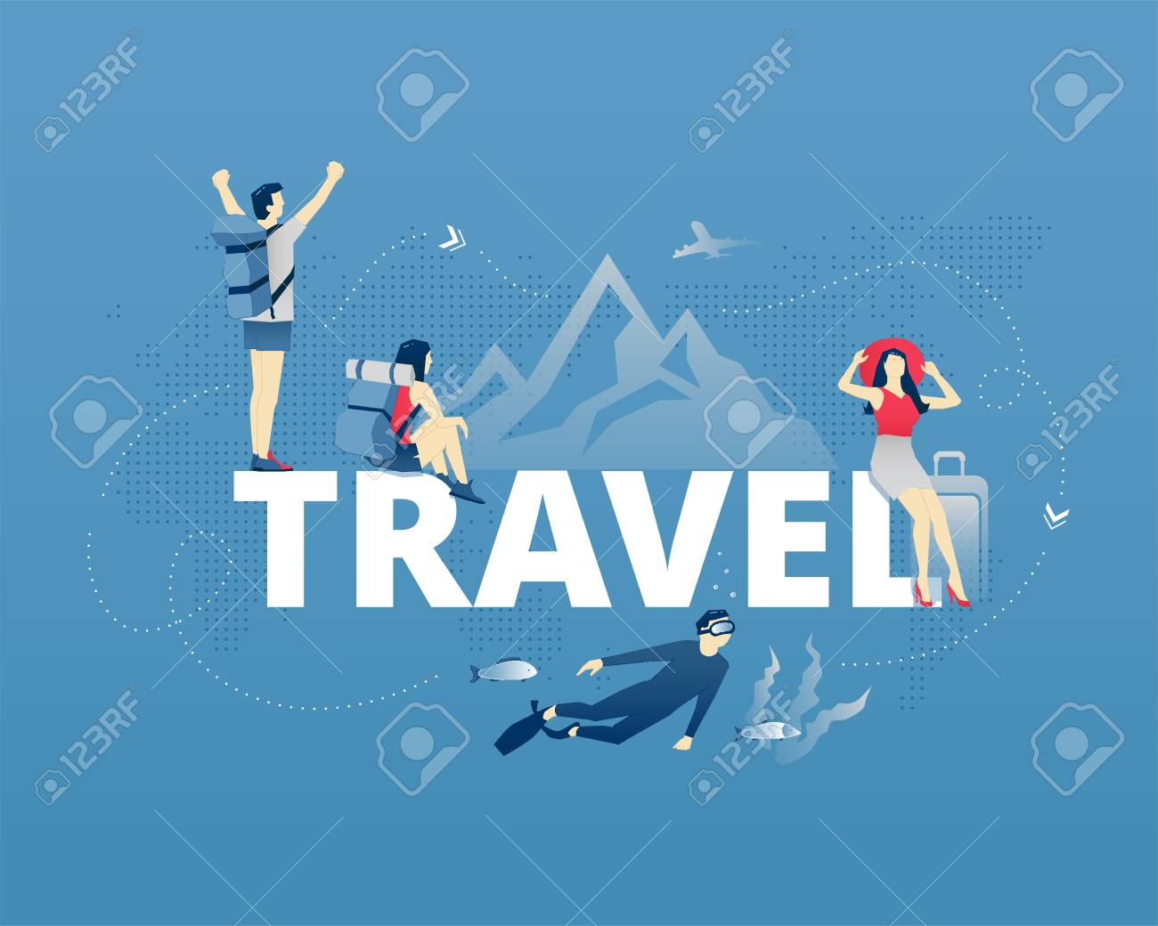 visual metaphor of world traveling exploring and vacation men