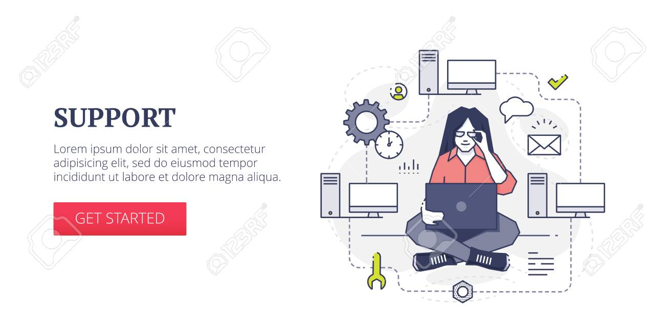 Flat Line Banner Design Template Of Technical Support, Computer ...