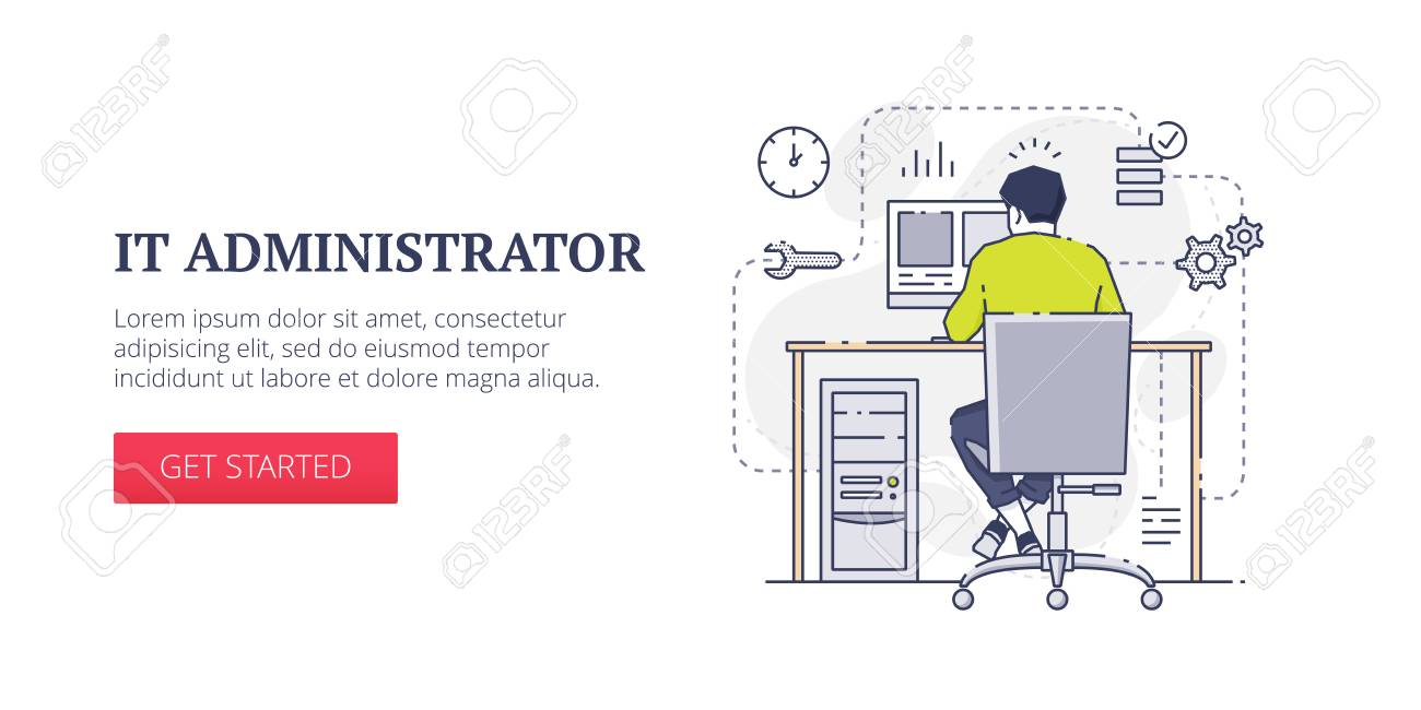 Flat Line Banner Design Template Of Technical Support, Database ...