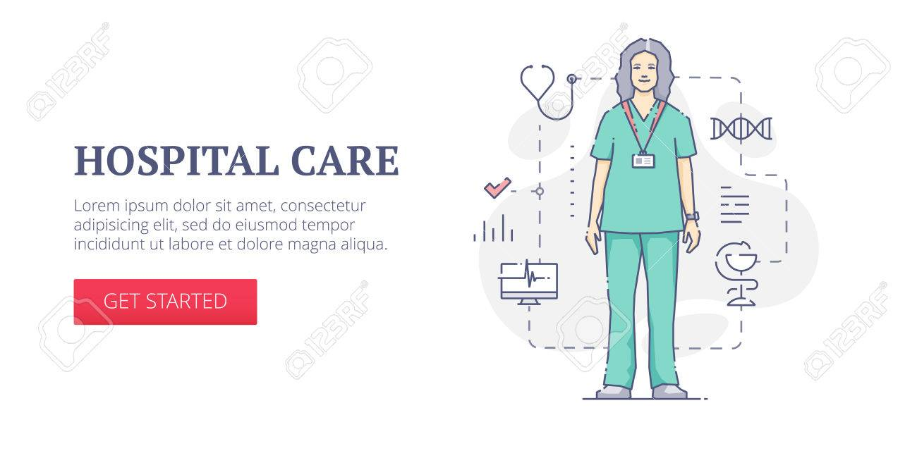 vector banner template with woman doctor in green uniform with