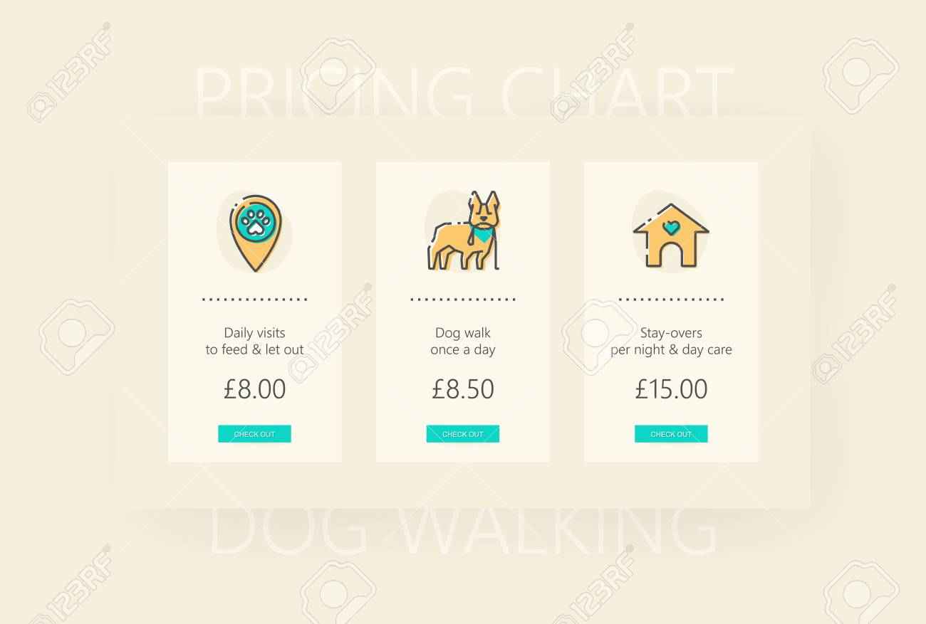 Design Template Of Pricing Table. Dog Walking And Pet Sitting ...