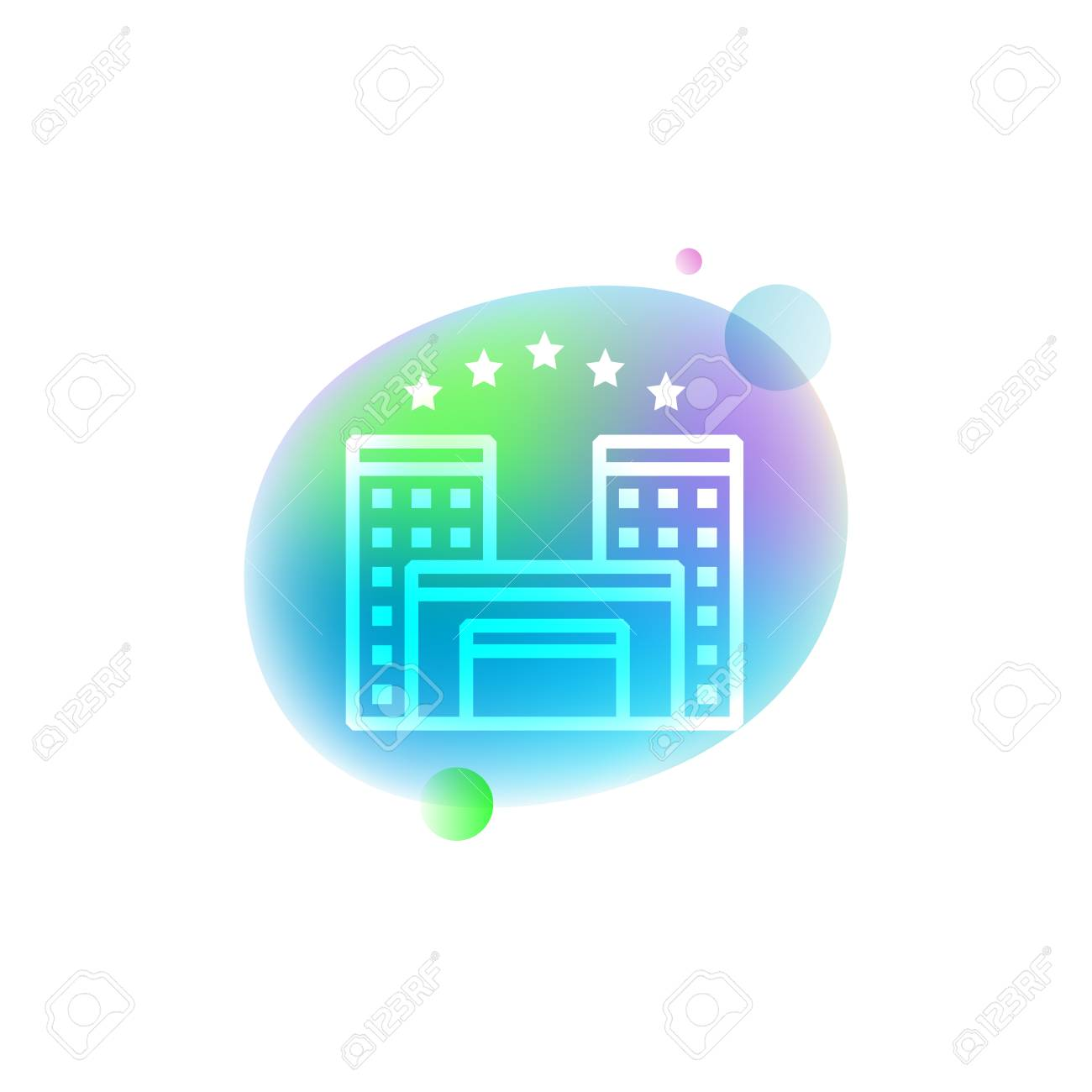 Bright Neon Icon Of Five Star Hotel Travel And Hotel Concept