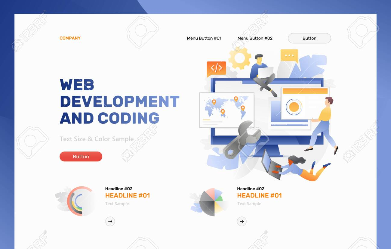 Web Development And Coding Banner Template Vector Concept Of Royalty Free Cliparts Vectors And Stock Illustration Image 123928561