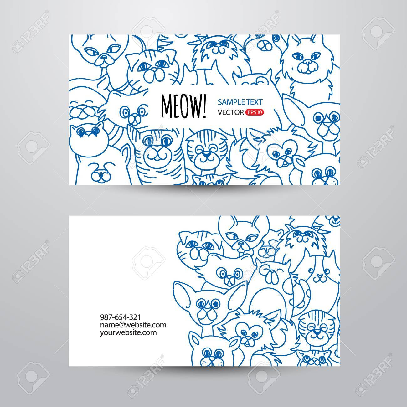 Person card template with funny cats face background vector person card template with funny cats face background vector background hand drawn design elements friedricerecipe Image collections