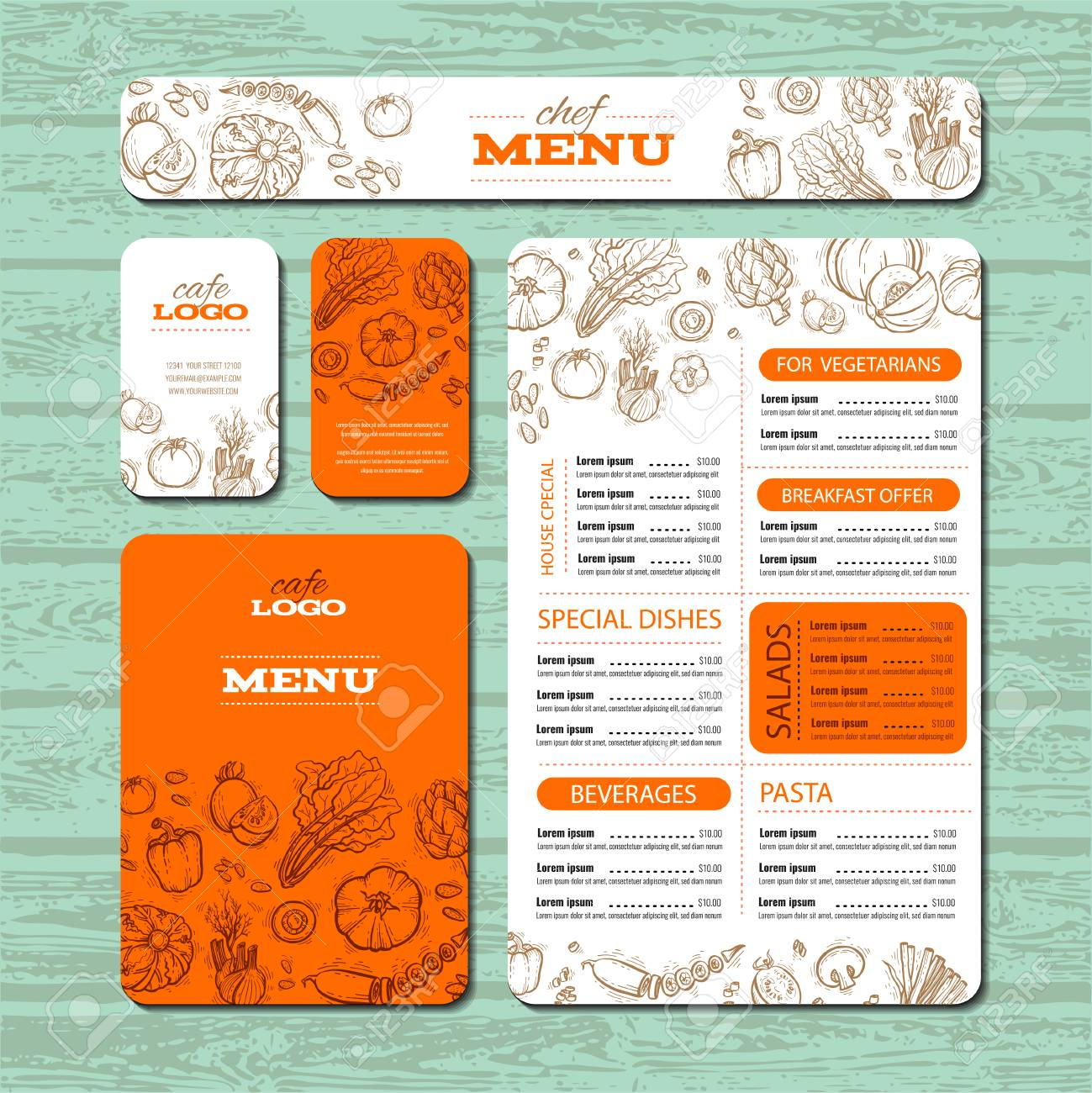 cafe or restaurant identity template includes example menu brochure