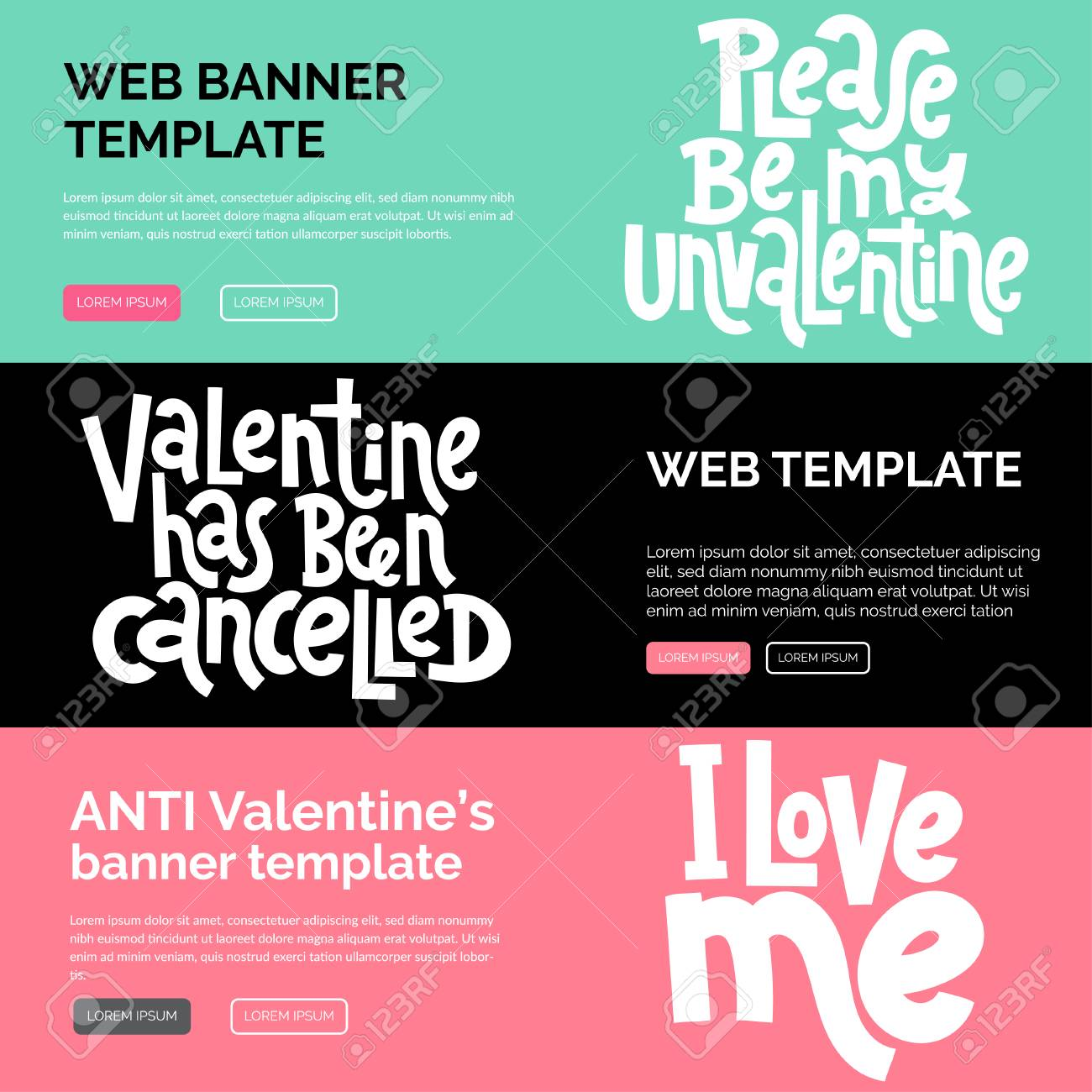 Web or print banners design template with hand drawn vector lettering. Anti Saint Valentine Day, Singles Day slogan stylized typography. Black humor quote for a party, social media. Horizontal layout. - 126343819