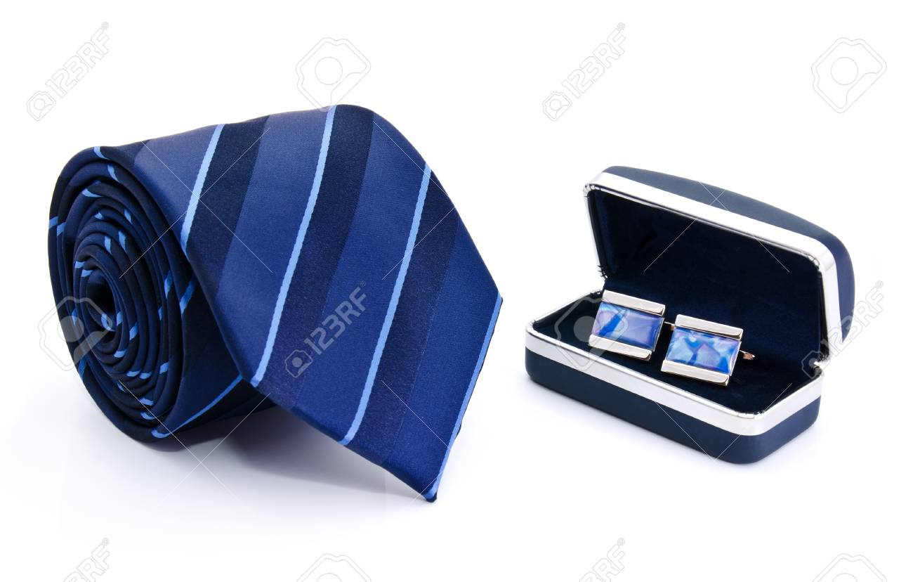 Man cuff links in box and tie  isolated on white Stock Photo - 13883328