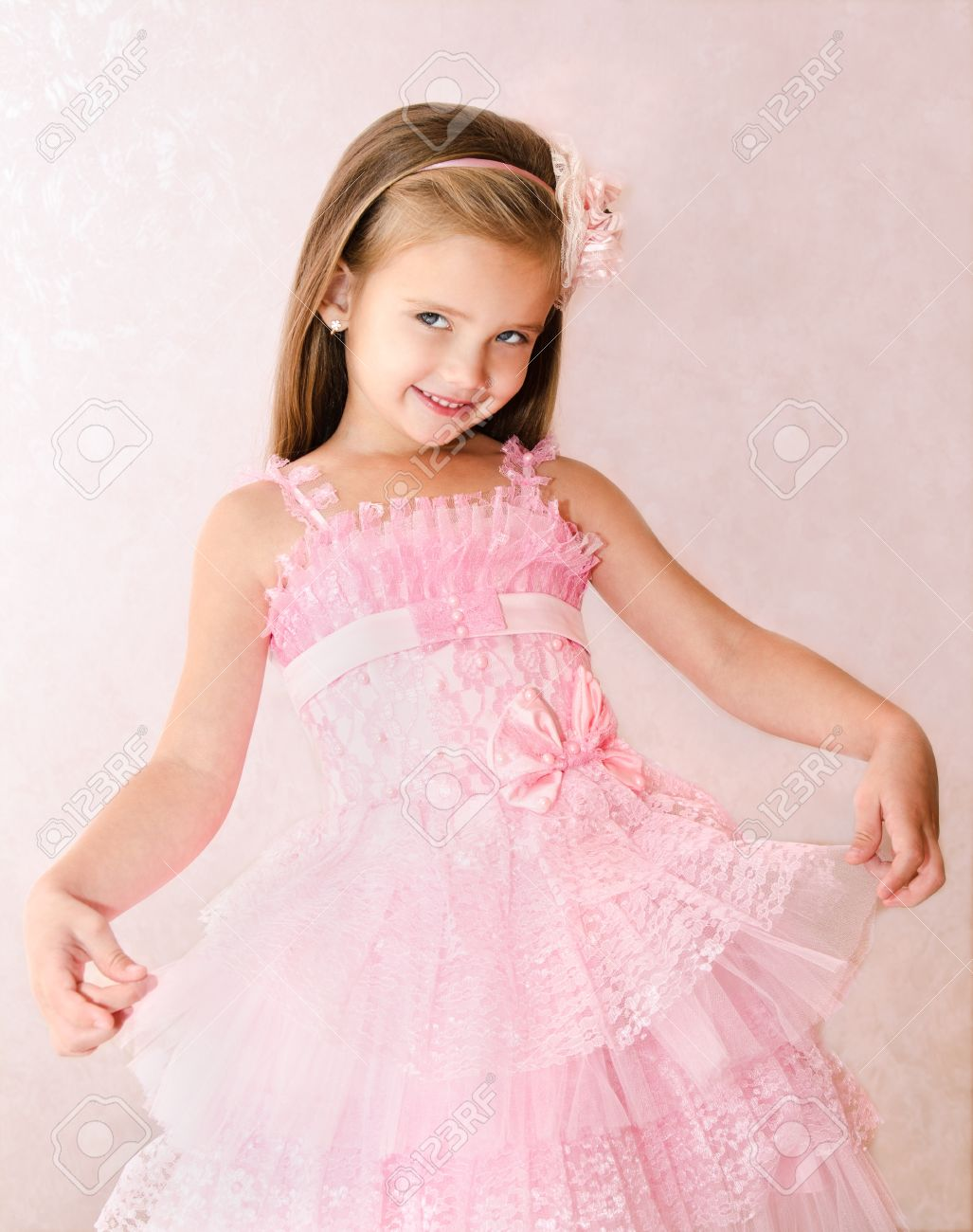 Portrait Of Cute Smiling Little Girl In Princess Dress Stock Photo ...