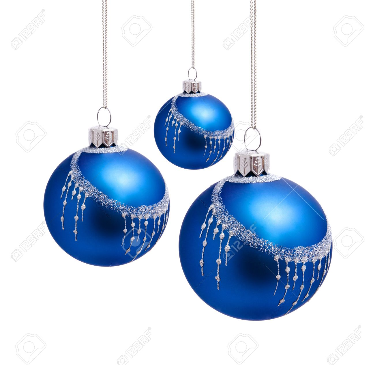 Perfect Blue Christmas Balls Isolated On White Background Stock ...