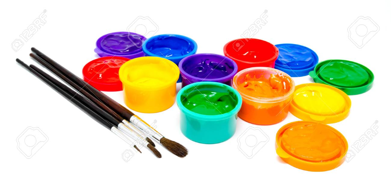 children finger paint and paintbrushes isolated on a white stock