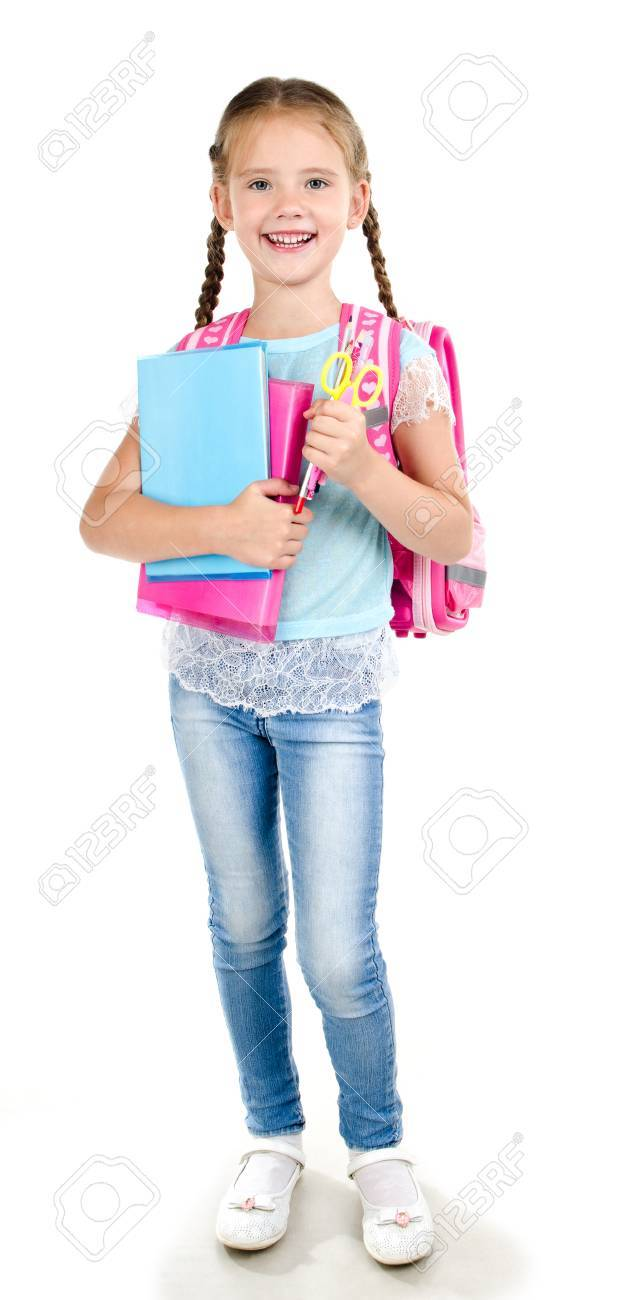 29d6d4818078 Portrait of smiling school girl child with backpack and books..
