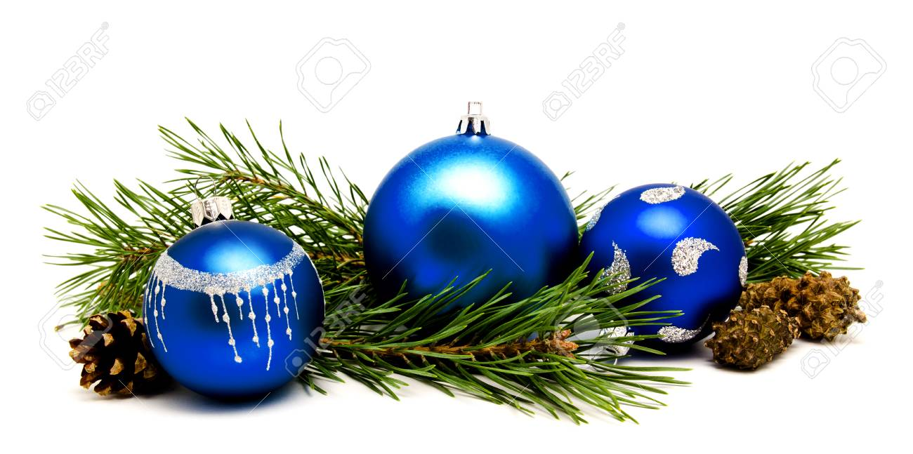 Christmas Decoration Blue Balls With Fir Cones And Fir Tree
