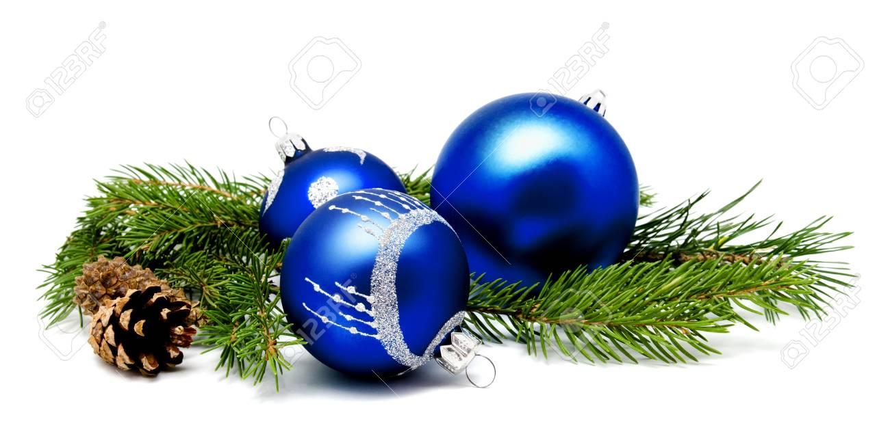 Boules De Decoration De Noel Bleu Avec Des Cones De Sapin Et Des