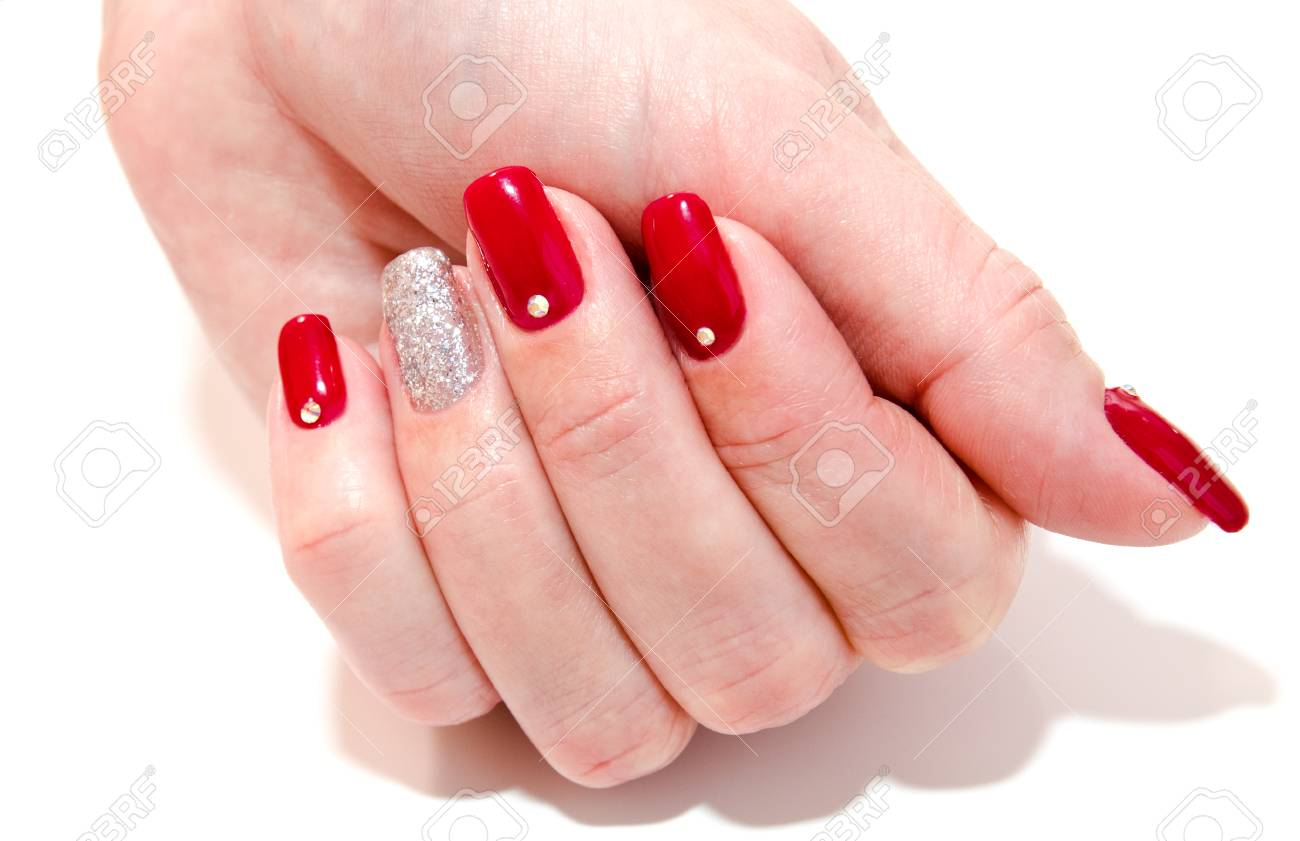 Woman\'s Nails With Beautiful Red Manicure Fashion Design With ...