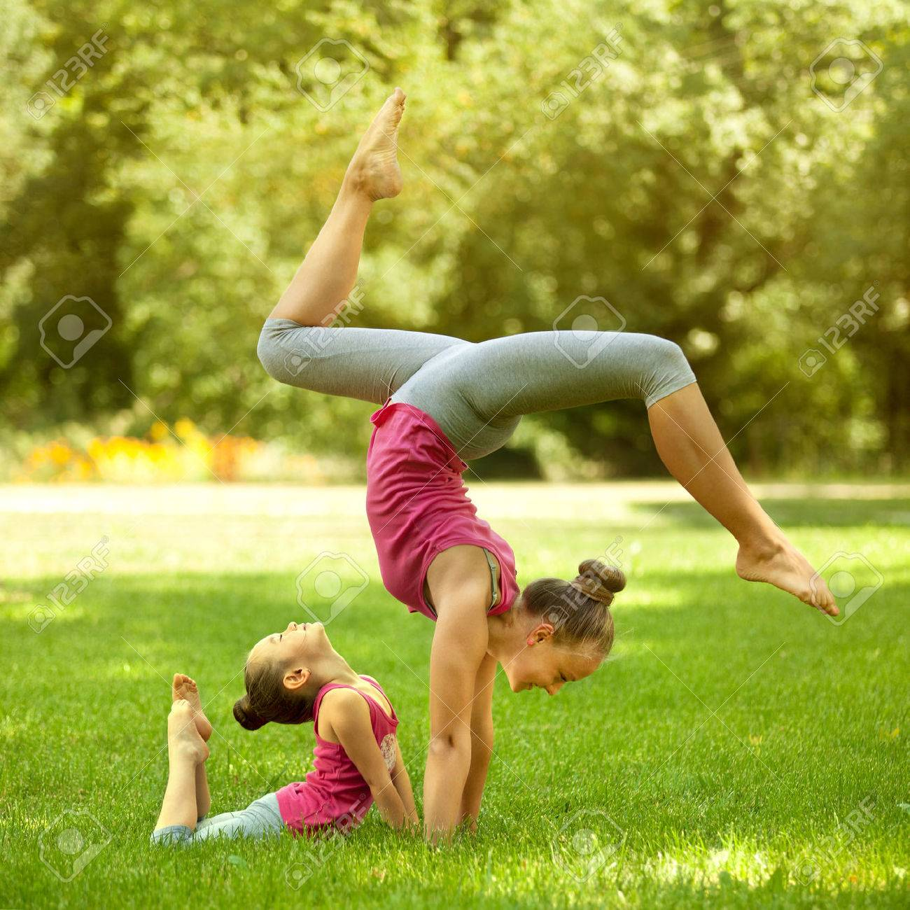 Mother And Daughter Doing Exercise Outdoors Healthy Lifestyle Stock Photo Picture And Royalty Free Image Image 32143937