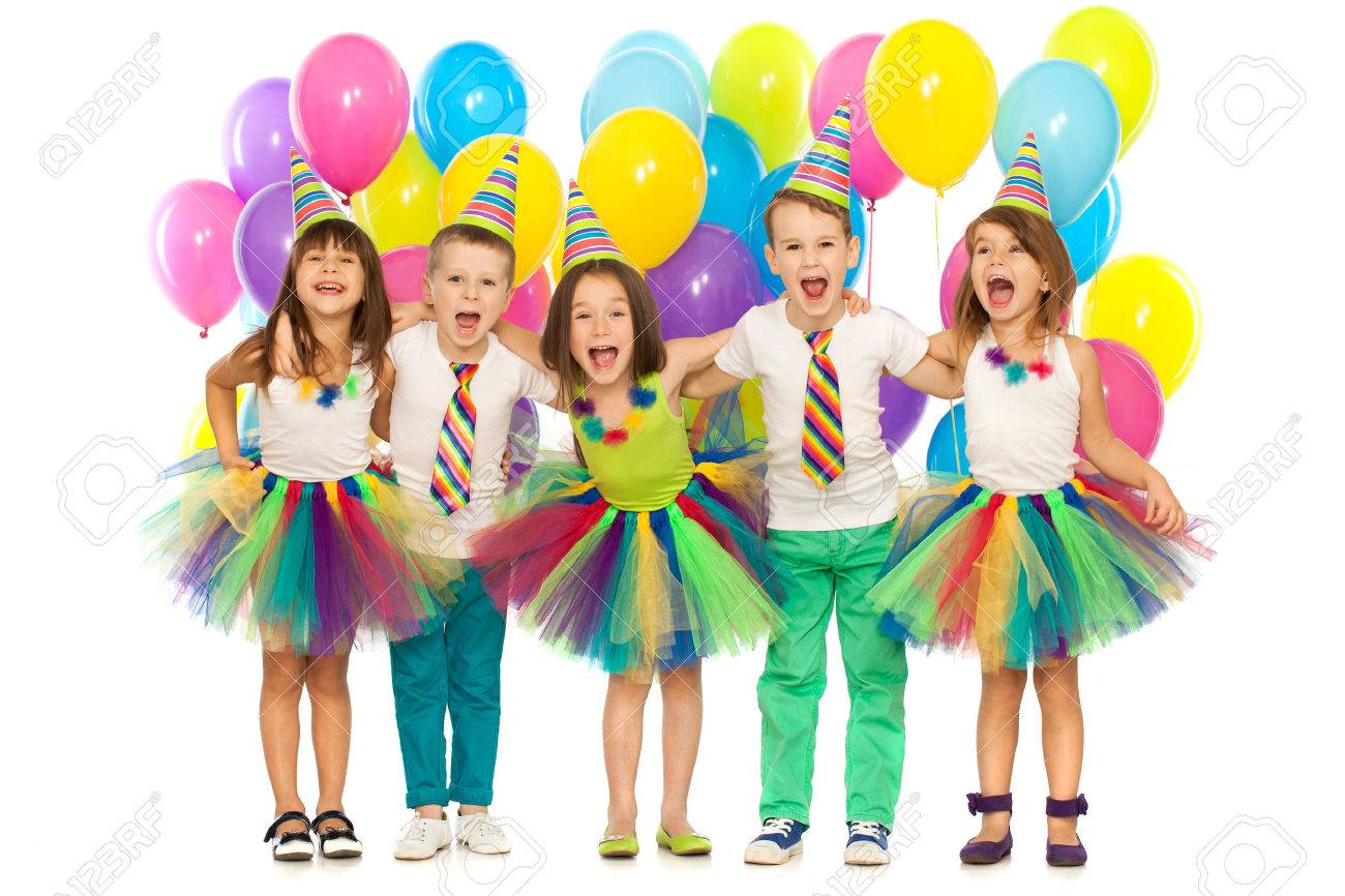 birthday party group of joyful little kids having fun at birthday party isolated on - Little Kids Pictures