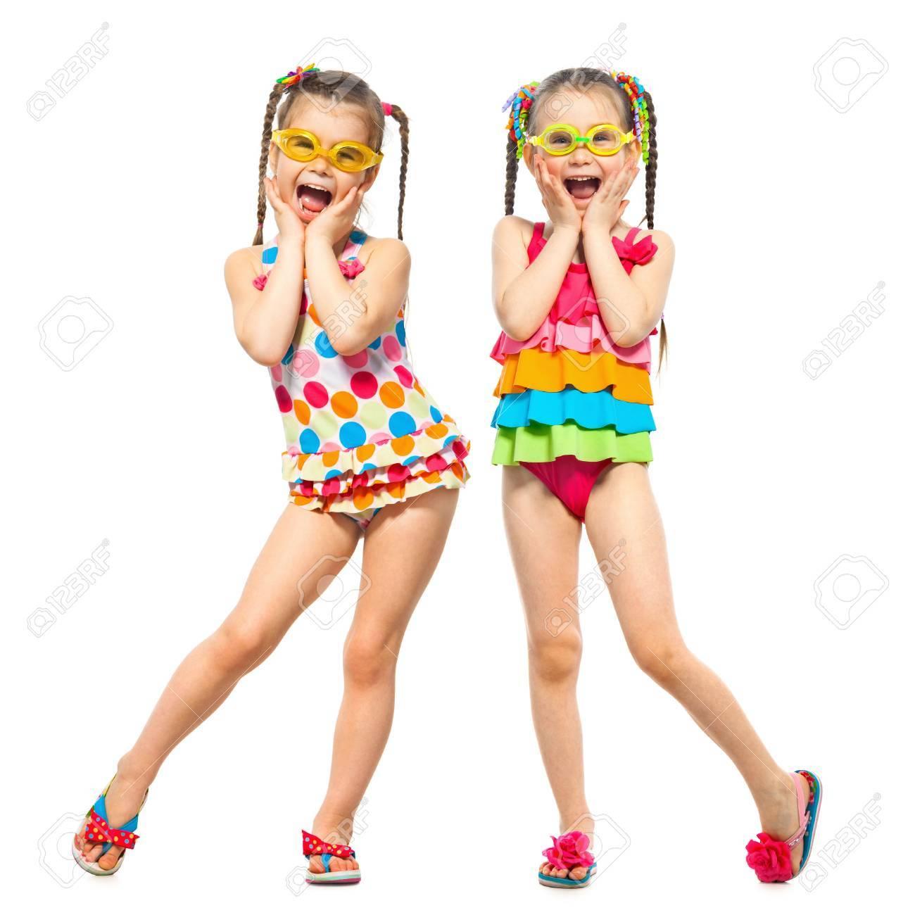 Badpak Mode.Modieuze Kinderen In Badpak Geisoleerd Op Een Witte Achtergrond
