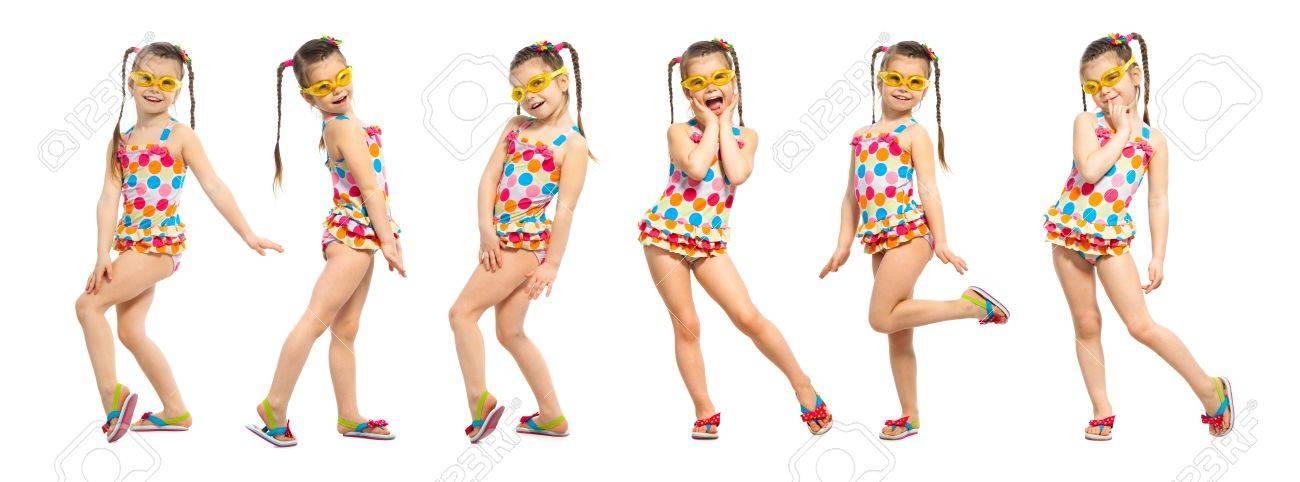 Badpak Mode.Modieus Meisje In Badpak Geisoleerd Op Een Witte Achtergrond Zomer