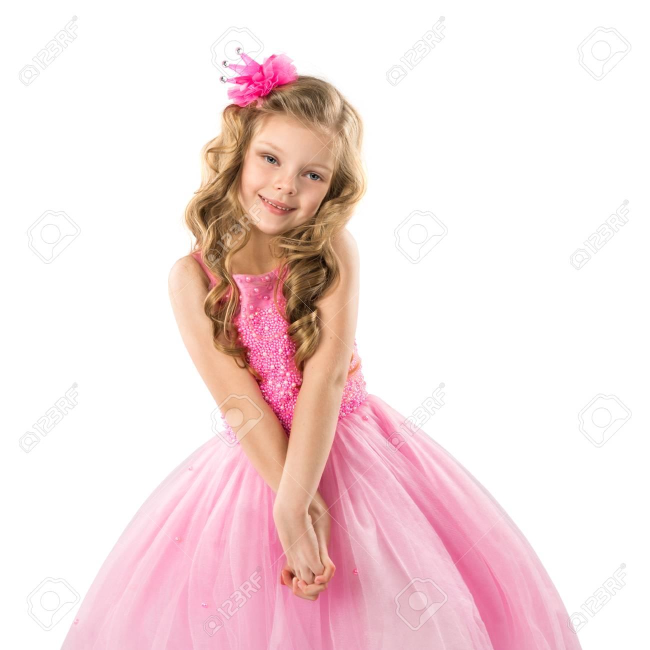 2451c609c Cute Little Girl In Pink Princess Dress