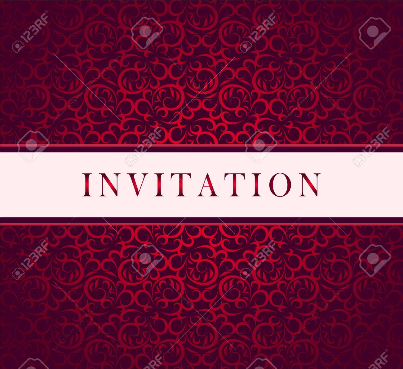 Invitation Red Ornament Card Royalty Free Cliparts Vectors And – Invite Card