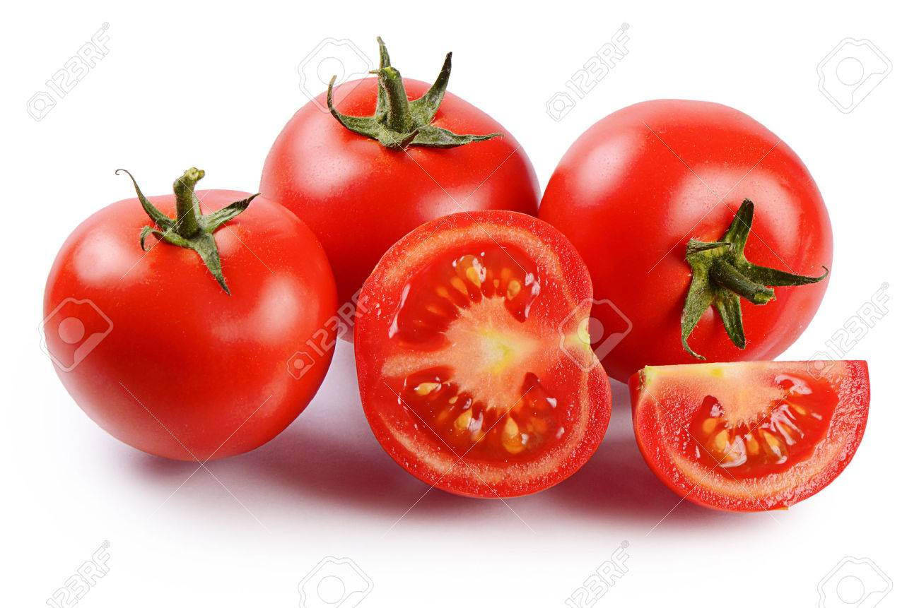 Red fresh tomatoes isolated on white background - 47655300