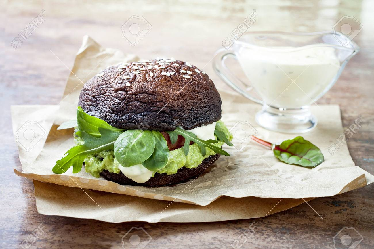 Grilled Portobello Bun Mushroom Burger Vegan Gluten Free Grain Stock Photo Picture And Royalty Free Image Image 75481120