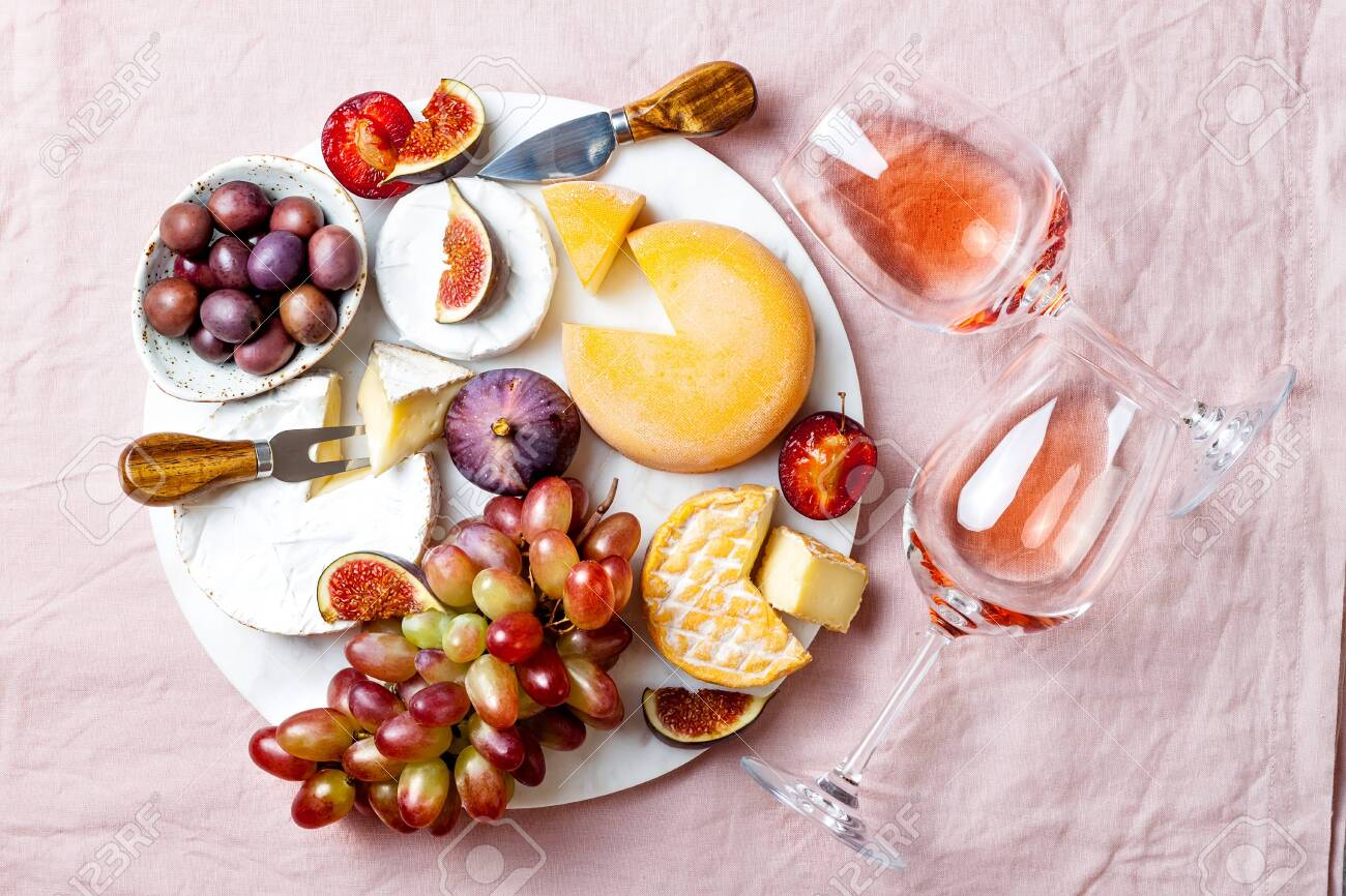 Appetizers Antipasti Snacks And Rose Wine In Glasses Cheese Stock Photo Picture And Royalty Free Image Image 131070608
