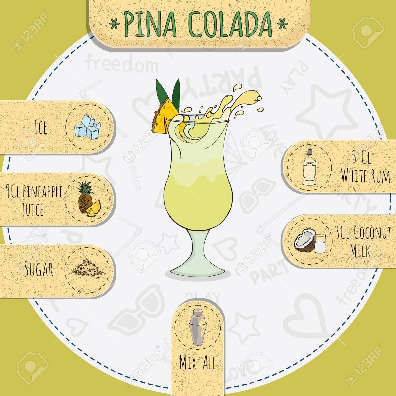 Auf Beliebten Alkoholischen Cocktail Pina Colada Mit Einem ...