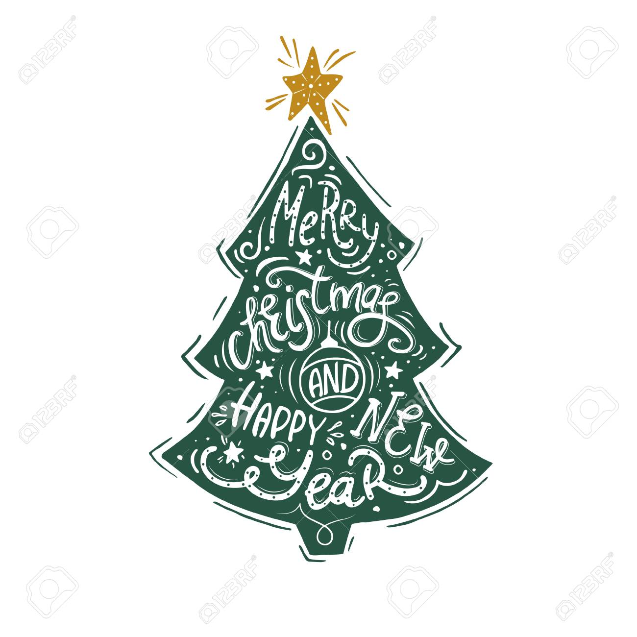 Vintage Poster With Christmas Tree And Hand Lettering On New