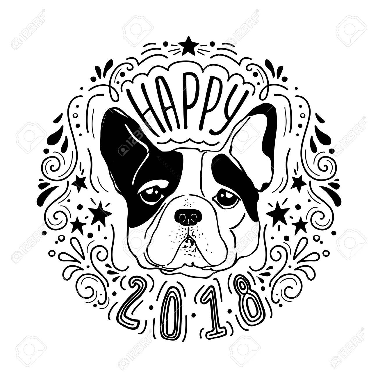 Vector Drawn Poster With French Bulldog And Decorative Design Elements Year Of