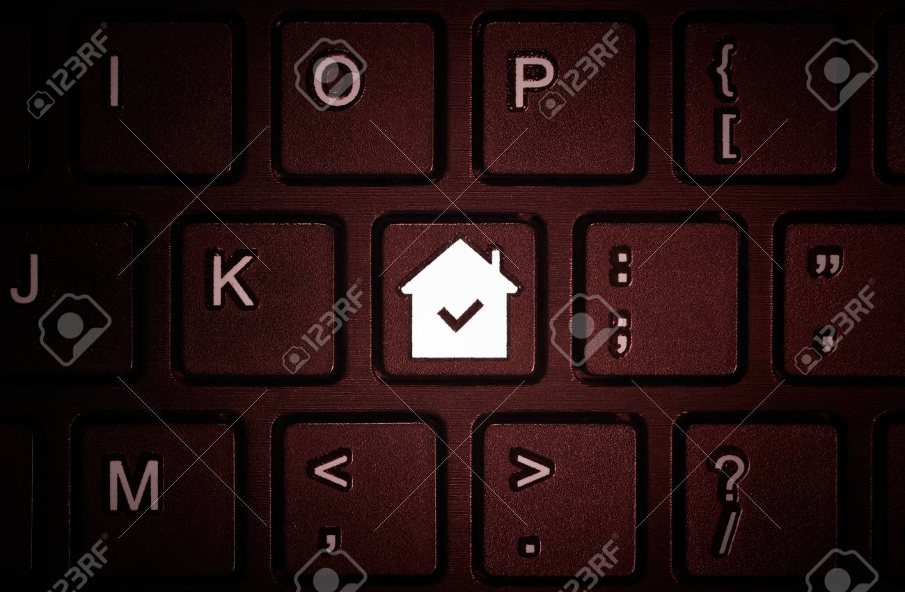 Button With The Symbol Of The House On The Keyboard Concept Stock