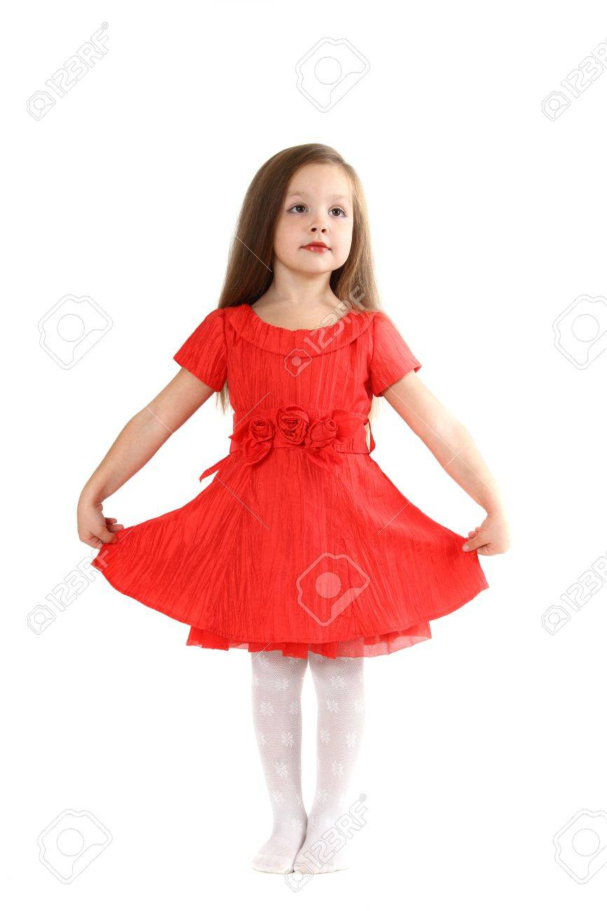 The Little Girl In Brightly Red Dress