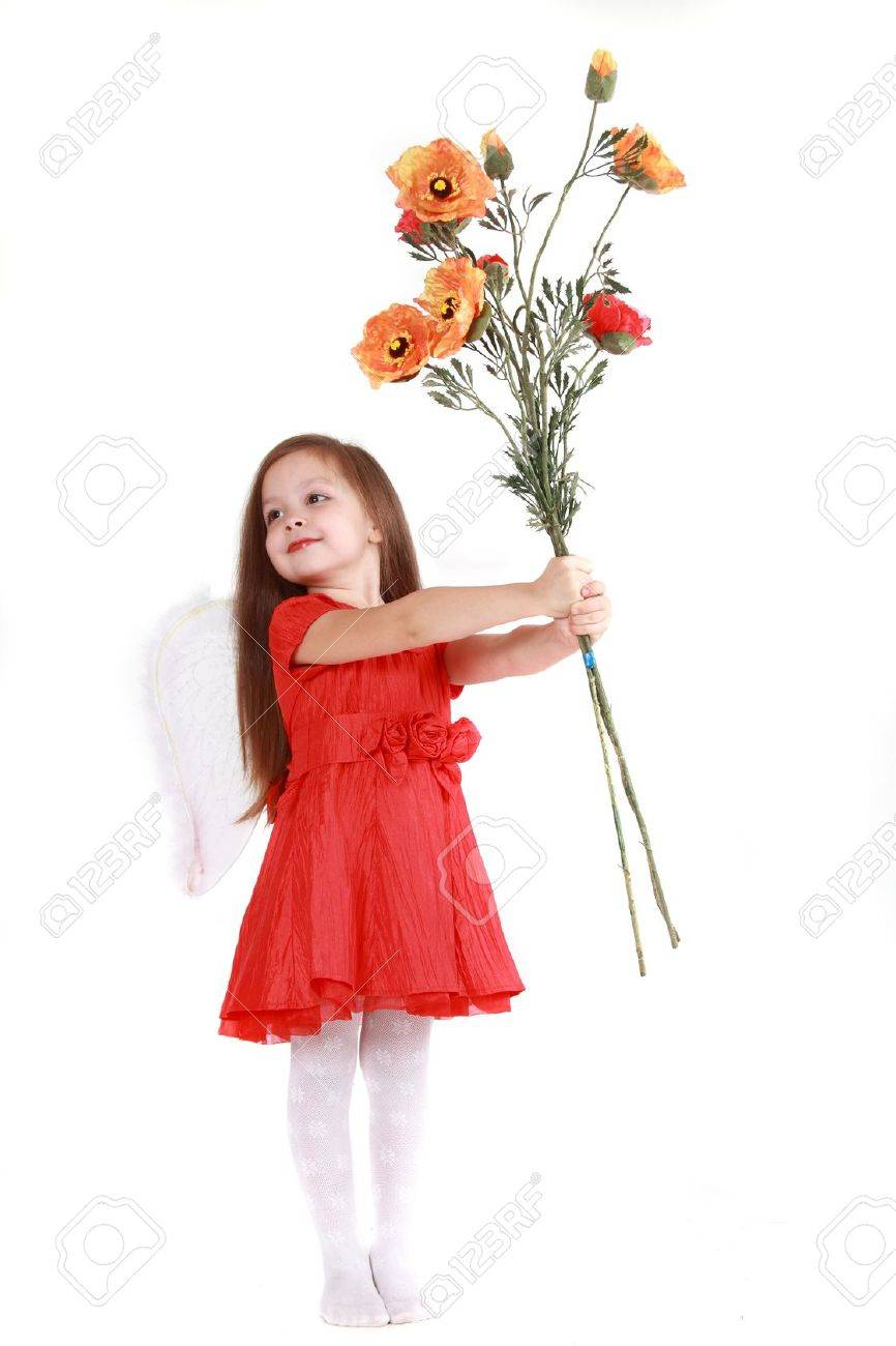 The little girl in brightly red dress on a white background has control over a bouquet of poppies Stock Photo - 9577520